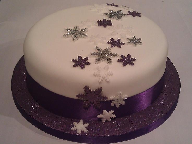 Purple Snowflake Christmas Cake