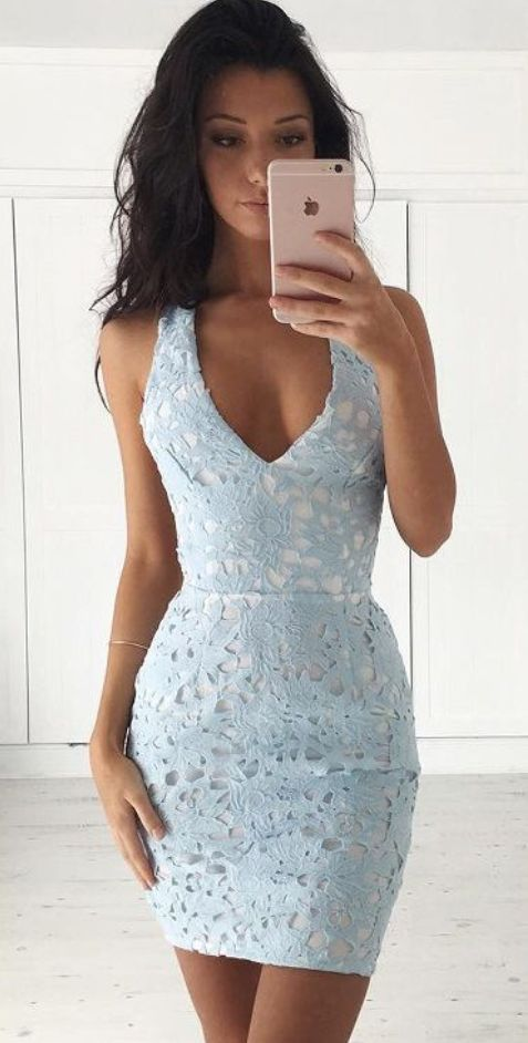 Lace Party Dresses Sheath/Column Party Dresses V Neck #Short Homecoming Dress #HomecomingDresses #Short PromDresses #Short CocktailDresses #HomecomingDresses