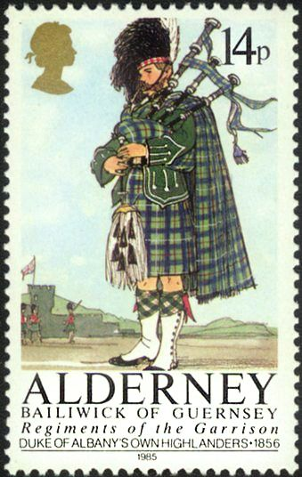 Alderney Postage Stamp featuring the Regiments of the Garrison.