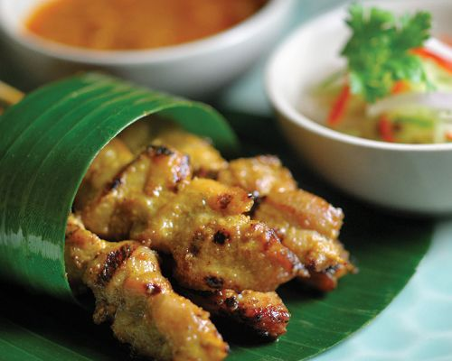 ... pork,beef or prawn satay served with cucumber and peanut dipping sauce