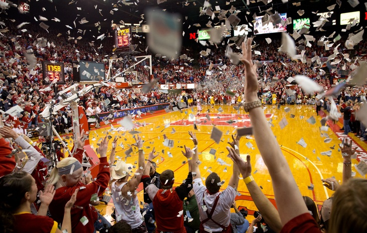 Nebraska fans and students throw confetti after Nebraska