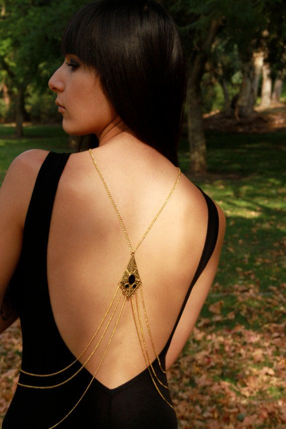 Gold Cleopatra Chain Body Chain Necklace by LoneWolfAccents, $115.00: