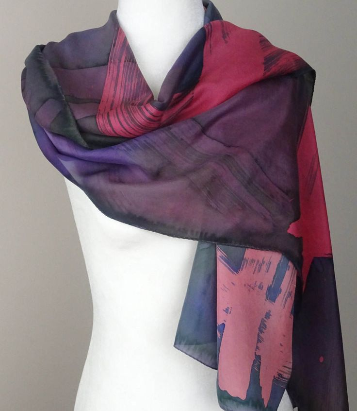 "Hand Painted Silk Scarf in Plaid Batik Application, Dusty Rose, Navy Blue and Green ""Strokes"", Handmade, Handpainted. Approx 22 X 68 inches by SeesaSilk on Etsy"