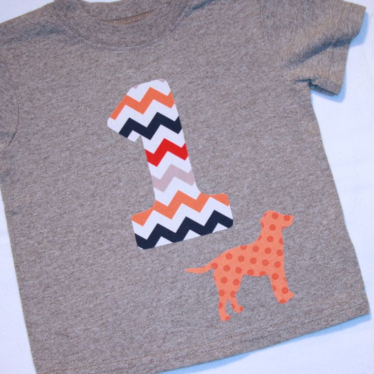 Boys First Birthday Chevron Number 1 Shirt with Dog - 12 month short sleeve heather gray shirt with number 1 in gray orange navy red by ThePolkaDotTotSpot on Etsy