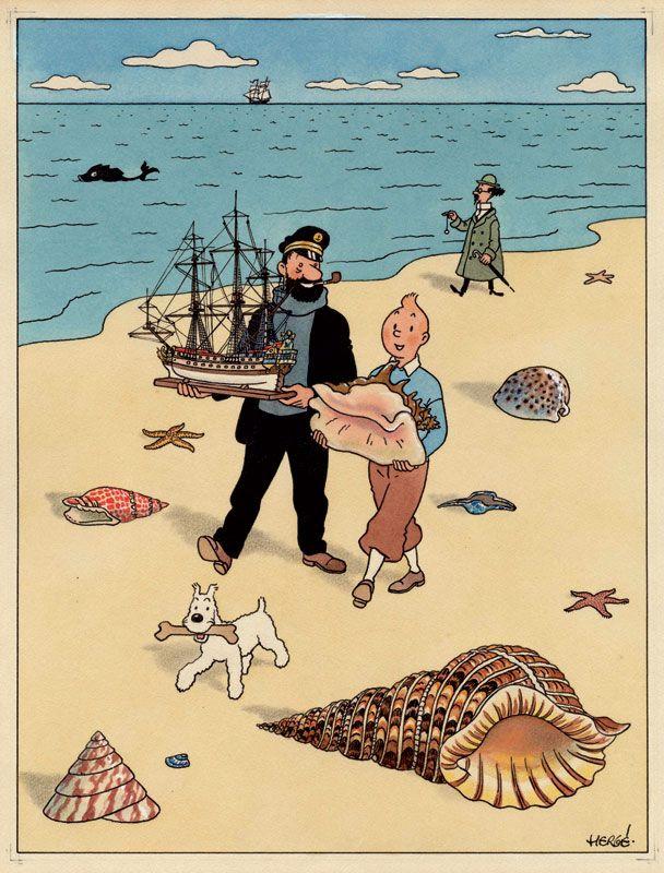 ein-bleistift-und-radiergummi: Bright Watercolour Illustration of Tintin, given by artist Hergé to a friend. COURTESY OF PIASA OF PARIS.