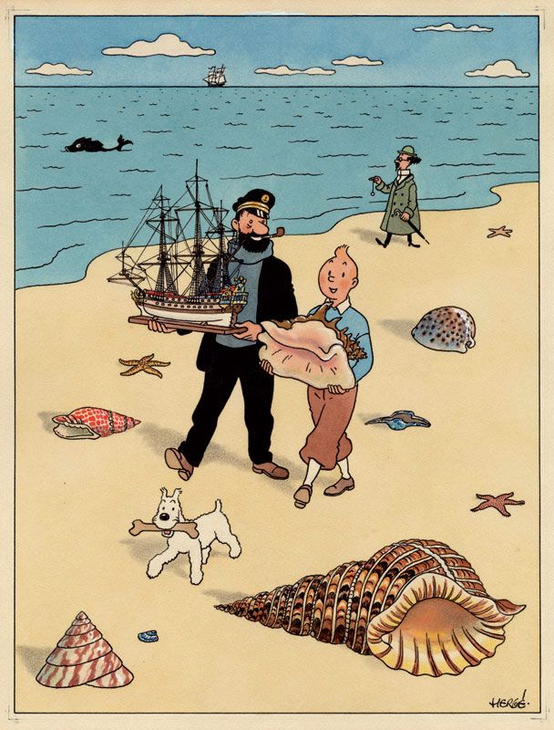 Tintin on the beach with Snowy, Captain Haddock and Prof. Calculus. Hergé.
