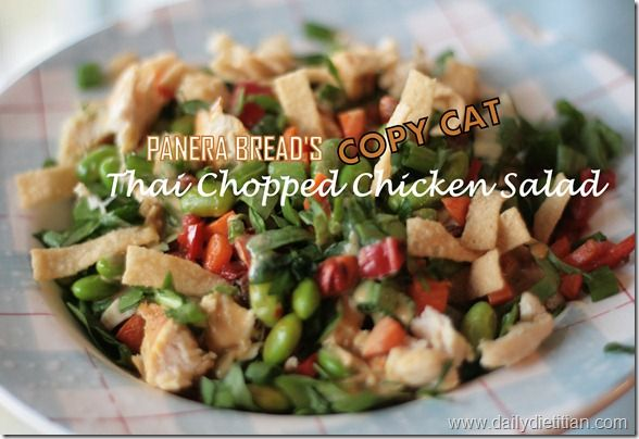 Copycat Panera Bread Thai Chopped Chicken Salad. So good!! It tasted almost exactly like the original. The wonton strips are essential! If you can't find them in the grocery store, buy wonton wrappers and fry in a thin layer of oil. Don't add the strips or cashews until serving the salad otherwise both will get soggy.