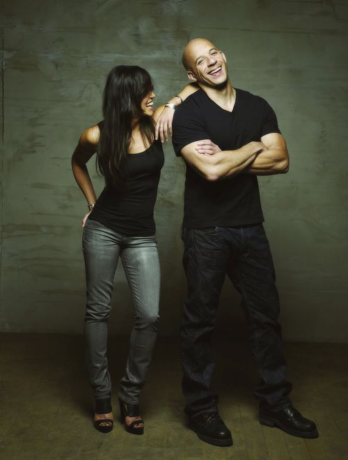 """""""Michelle Rodriguez and Vin Diesel"""", stars of the """"Fast and Furious"""" franchise."""