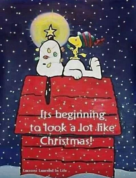 It's Beginning to Look a Lot Like Christmas - Snoopy and Woodstock on Top of Doghouse