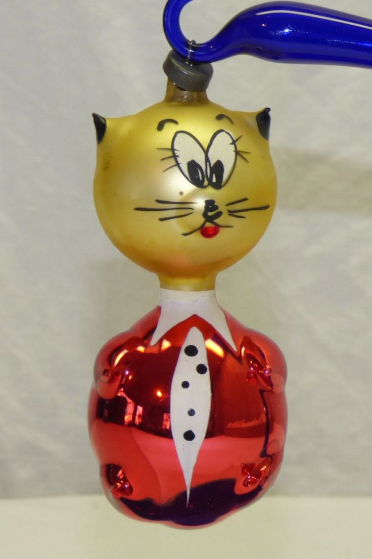 Italian christmas ornaments - Vintage Old Italian Blown Glass Cat Christmas Tree Ornament Red Gold Italy