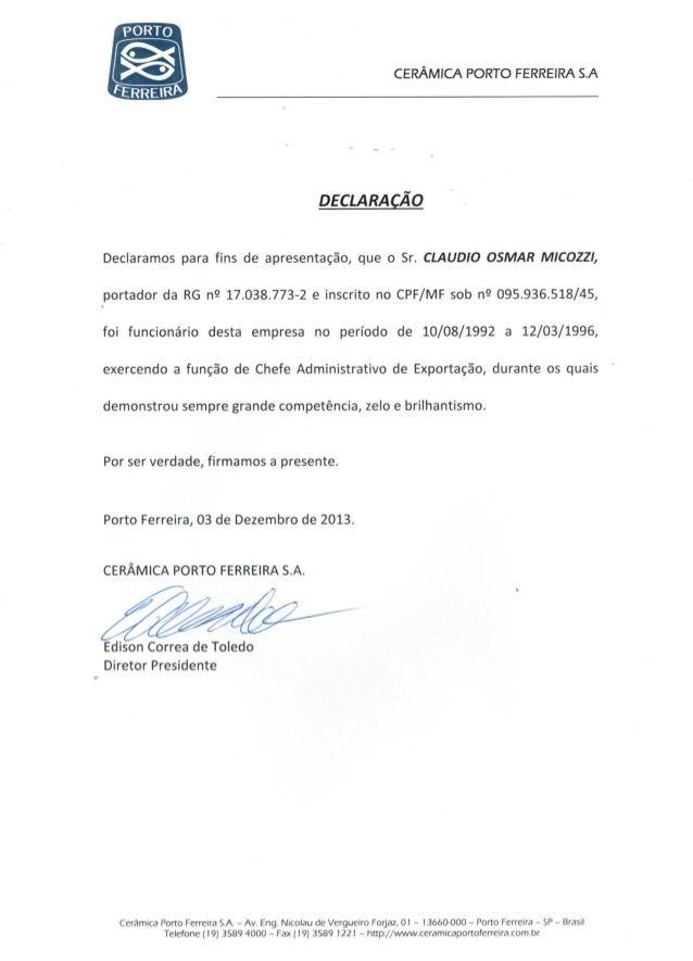 CARTA DE REFERÊNCIA - CERÂMICA PORTO FERREIRA