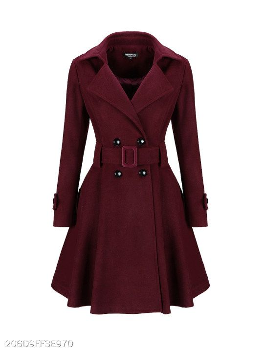 c5386afcfcd Classical Lapel Double Breasted Plain Swing Woolen Coats - berrylook ...