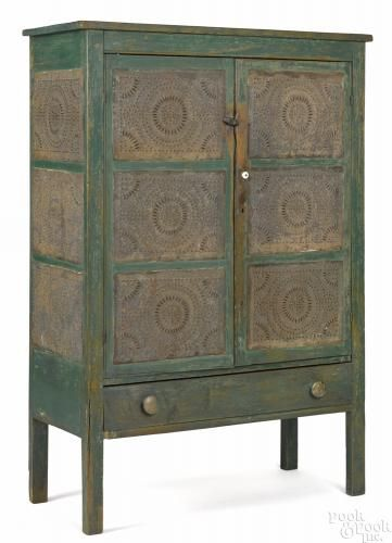 Mid-Atlantic painted pine pie safe, 19th c., with punched tin panels - Price Estimate: $800 - $1200