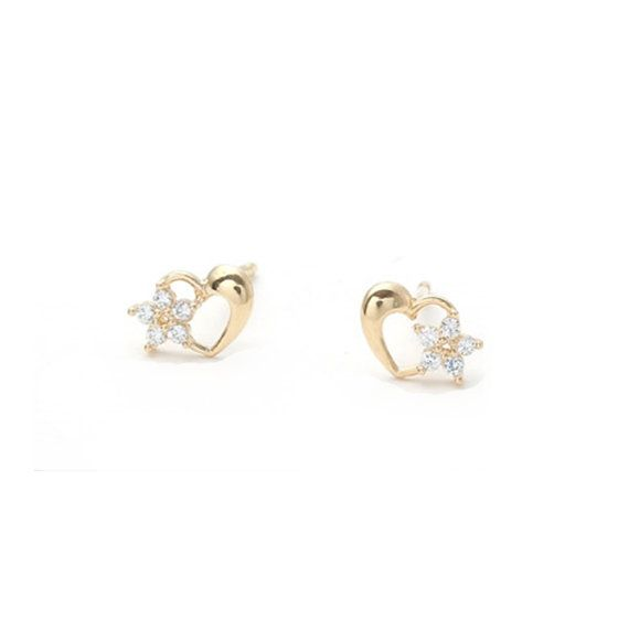 14k Gold heart earrings, wedding invitation,gold earrings for women, invitation, tiny earrings,minimal earrings,bridal earrings,vtrear-9