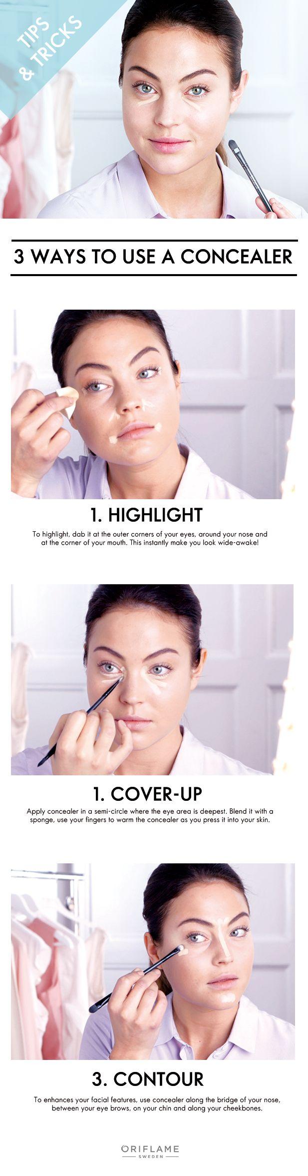 3 ways to use a concealer! #tips #oriflame #concealer