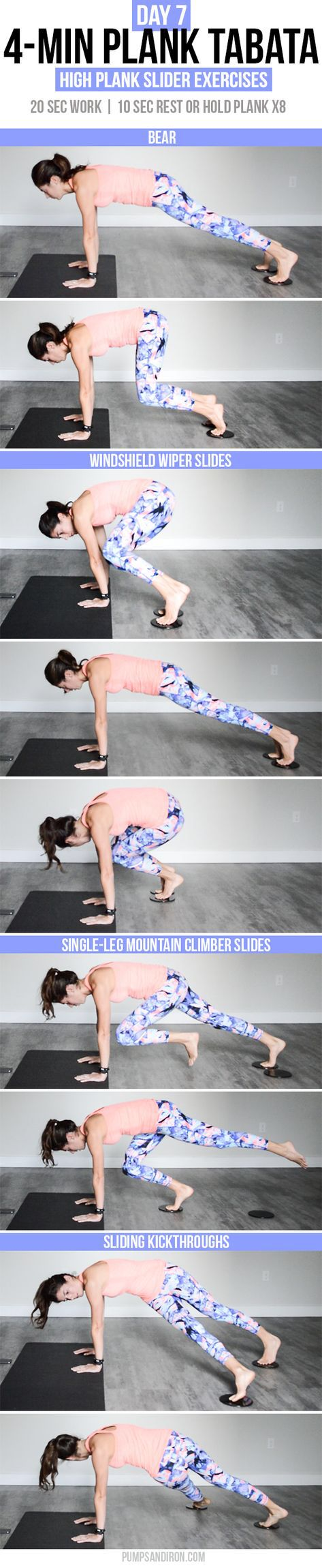 4-Min Plank Tabata Challenge (Day 7): Sliding High Plank Exercises