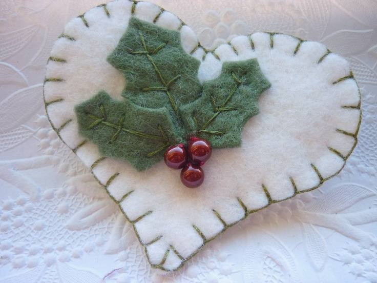 Felt Flower Heart Brooch  Christmas Holly Pin by pennysbykristie. , via Etsy.