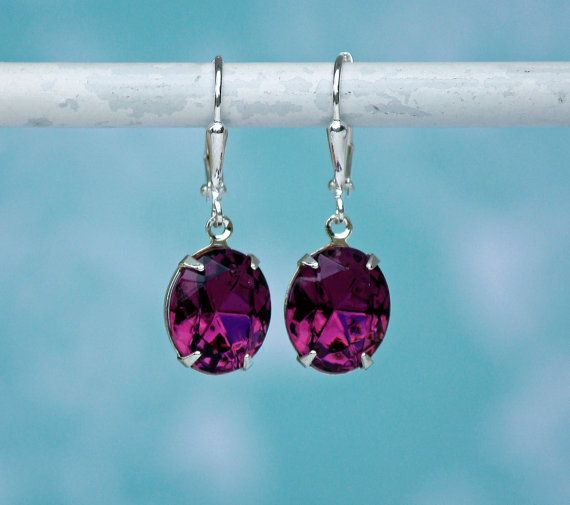 Purple Earrings Amethyst Swarovski Earrings by FrenchAtticDesign