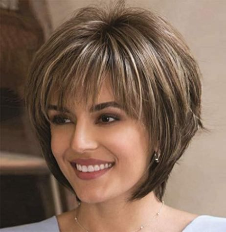 ELIM Wigs for White Women Short Curly Hair Wig Synthetic Full Female Wigs with Wig Cap Z140Z