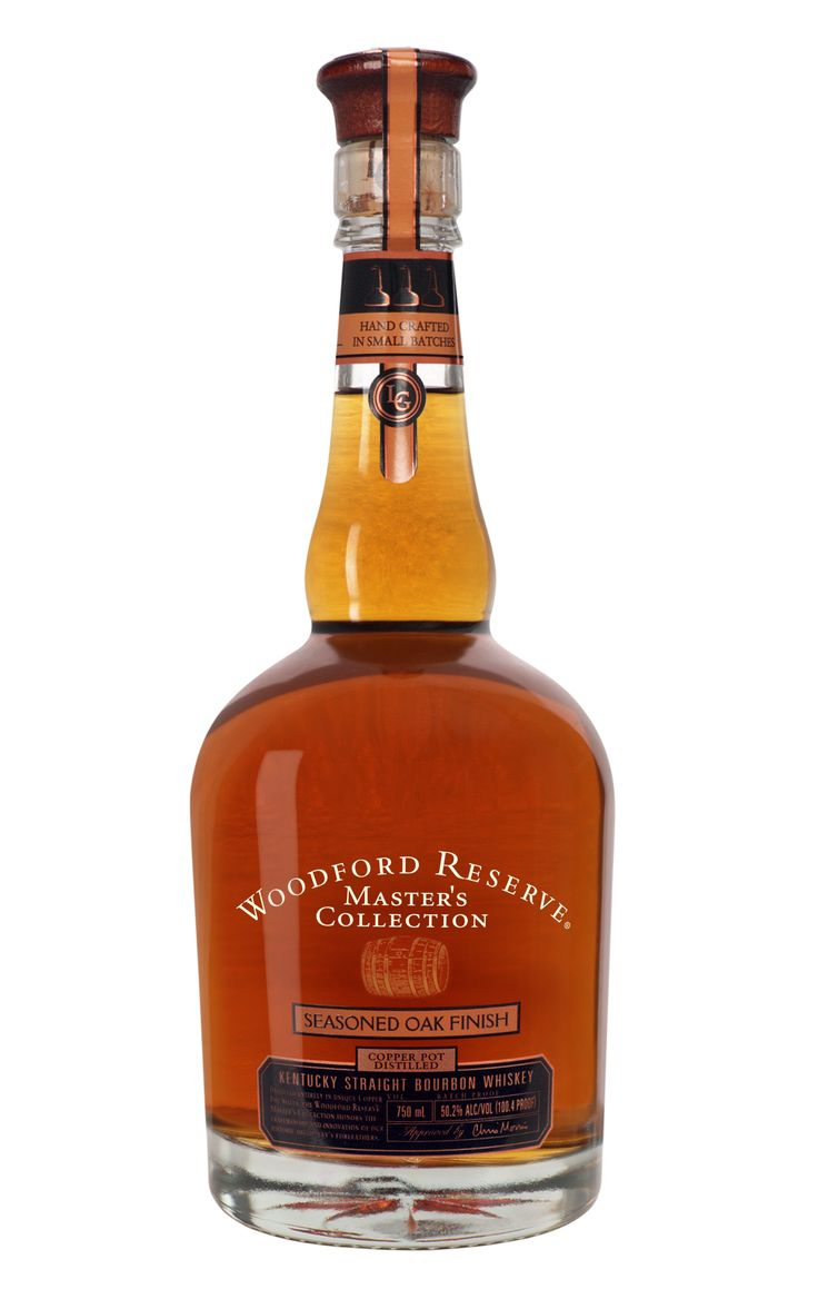 Woodford Reserves Master Collection-Seasoned Oak.For the past four years, Brown and Forman, the company responsible for Woodford Reserve Bourbon, has released a limited once a year offering known as the Masters Collection. With each offering they change the barrel aging slightly to create a new product. The first three were the Four Grain, Sonom-Cutrer Finish, and a Sweet Mash offering. The fourth, this year's bottling, is known as the Seasoned Oak Finish.