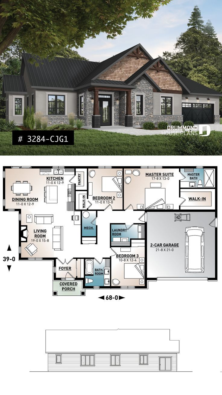 Craftsman home plan bungalow with ensuite and 2 be…
