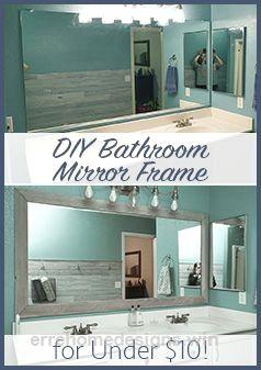 Wonderful DIY Bathroom Mirror Frame | Cheap | Easy | Do it Yourself | Mirror Makeover | Blue | Wood | Stain | White Wash  The post  DIY Bathroom Mirror Frame | Cheap | Easy |  ..