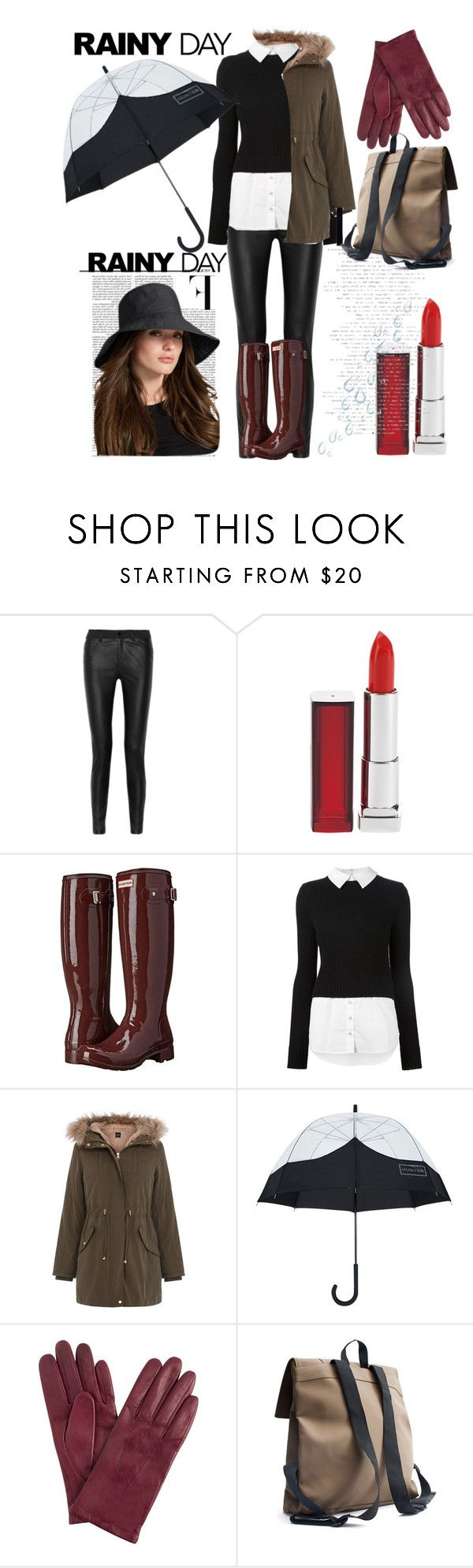 """""""yay rainy day"""" by d-cuevas ❤ liked on Polyvore featuring McQ by Alexander McQueen, Maybelline, Hunter, Veronica Beard, Oasis, Nicki Minaj, John Lewis, Rains, rainyday and rainboots"""