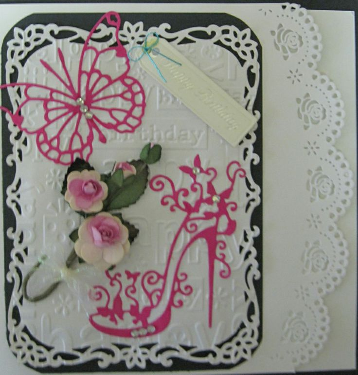 Birthday card made with Tattered Lace Shoe and Butterflly, and Spellbinders die cuts