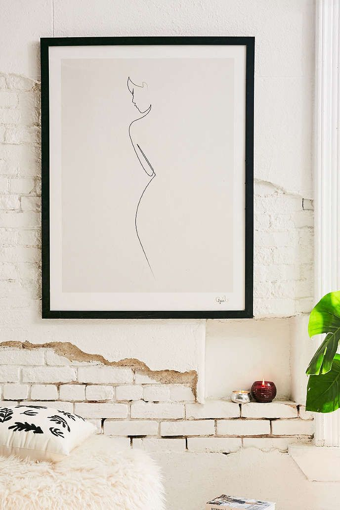 Urban Outfitters  Simple, oversized black and white art would look great on the tub wall, opposite the vanity. Size 30x40 would work well.