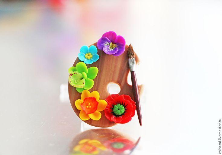 """Купить """"Палитра цветов"""" брошь - комбинированный, палитра, цветы, подарок девушке, подарок на любой случай"""