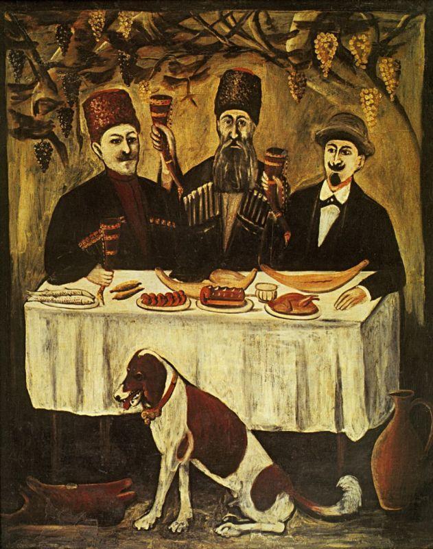 Нико Пиросмани (Пиросманашвили). Кутеж в виноградной беседке