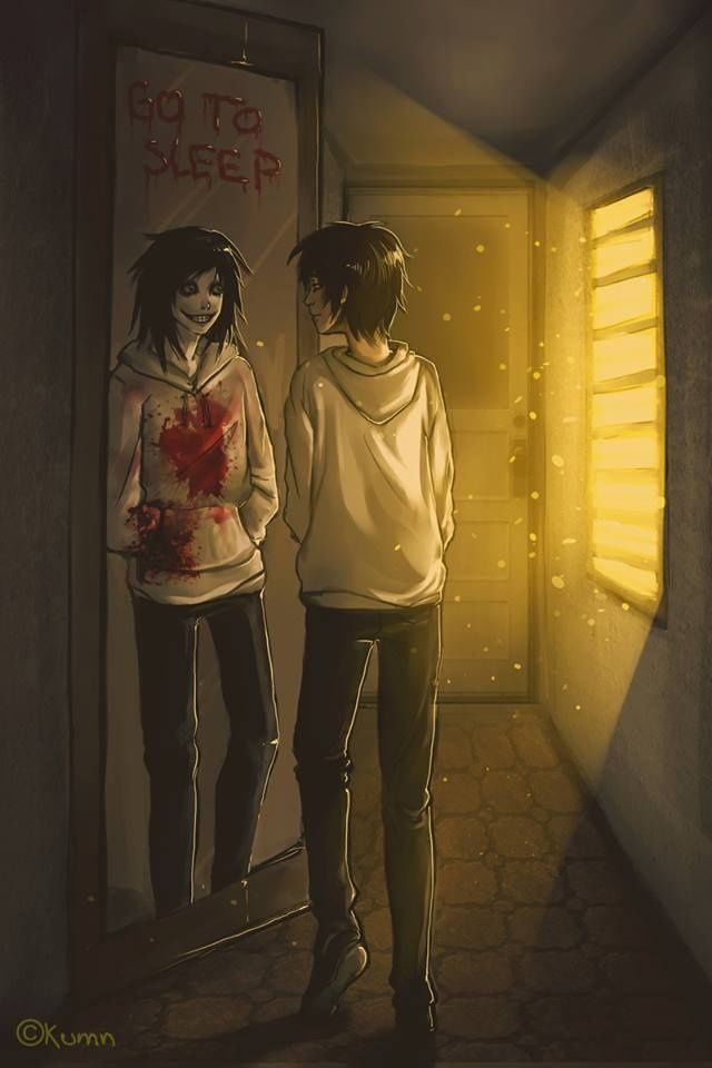 Jeff the Killer in mrror used to be jeff looking ing the mirror