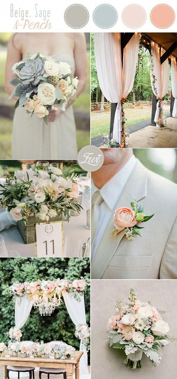 Romantic Cream Sage And Peach Summer Country Pastel Neutral Wedding