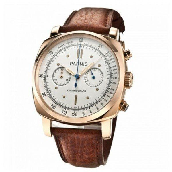 Parnis 45mm Rose Gold Japan Quartz Full Chronograph Function Watch