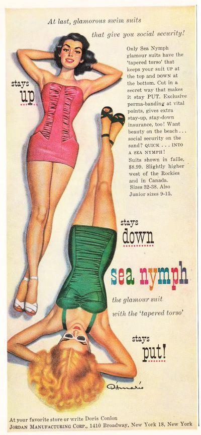50sVintage Swimsuits, Vintage Advertis, Vintage Fashion, Vintage Swimming, Nymphs Swimsuits, Sea Nymphs, At The Beach, Bath Suits, 1950 S