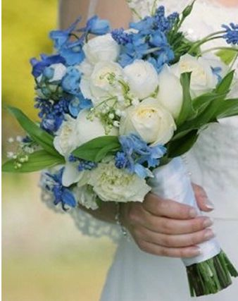 (we like the greenery in this) blue wedding flower bouquet, bridal bouquet, wedding flowers, add pic source on comment and we will update it. www.myfloweraffair.com can create this beautiful wedding flower look.