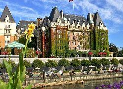Hotel, The Empress, Victoria, Kolumbia, Brytyjska, Rzeka, Drzewa