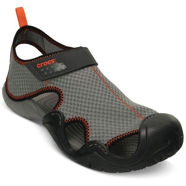 Crocs Men's Swiftwater Sandals ($50) ❤ liked on Polyvore featuring men's fashion, men's shoes, men's sandals, crocs mens sandals, mens crocodile shoes, mens shoes, crocs mens shoes and mens crocs sandals