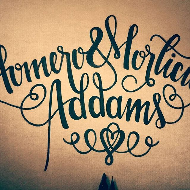 For all eternity. #Lettering #Homero #Morticia #CaraMia #MonSauvage #Love #Addams #Addamsfamily