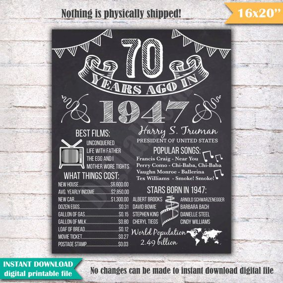 "1947 - 70th Birthday Chalkboard Sign Poster - INSTANT DOWNLOAD - Our chalkboard birthday sign is filled with facts, events, and fun tidbits from 1947. Its a super fun keepsake and makes a truly special gift or party decoration. Simply print and use as is, or put in a frame.  Please note - this is a digital download only. Nothing will be shipped to you.  You will receive a digital 16x20 JPEG file shortly after your payment has gone through. 16x20"" digital printable file. 16x20 can be printed…"