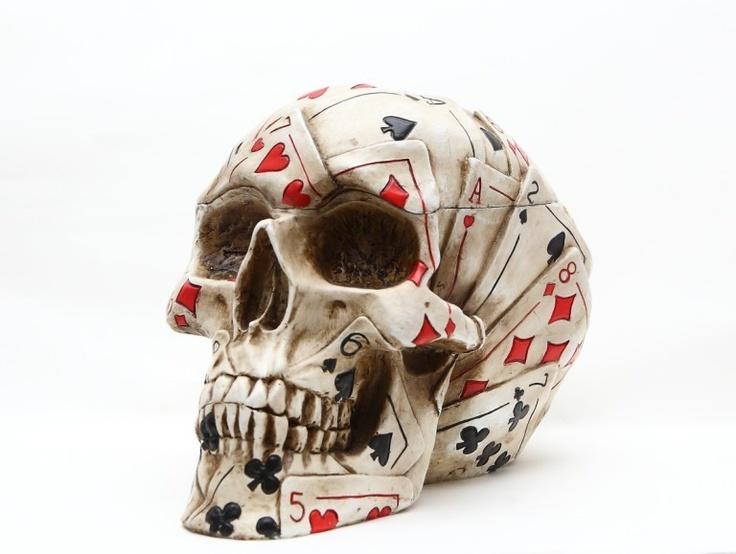 Skeleton Figurine Poker Face Skull Jewelry Box Ace Of