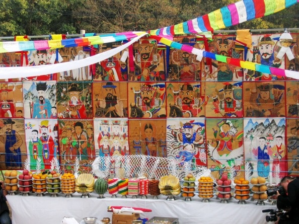 Altar of a Korean shaman for a private ritual gut held on Yangtze Island