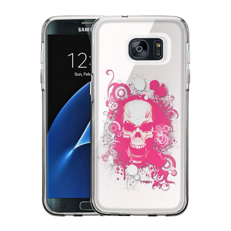 Samsung Galaxy S7 Edge Pink Skull on White Slim Case