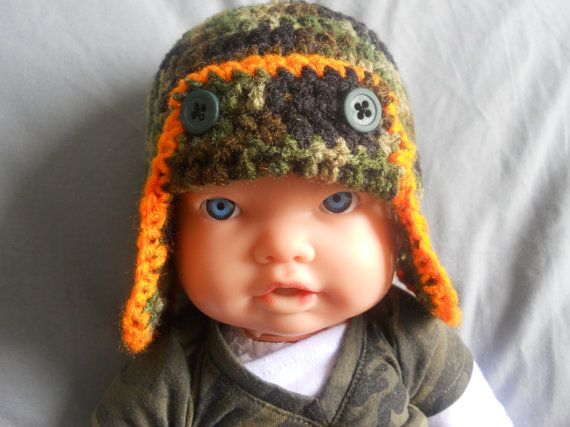 Crochet Baby Hunting Hat Pattern : Crochet Baby Camouflage Camo Hunting Earflap Hat Baby and ...