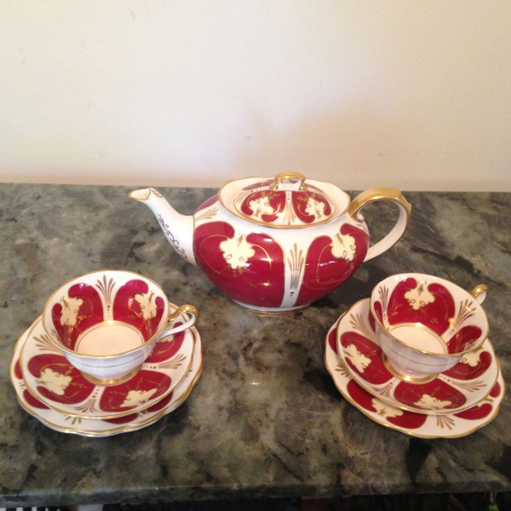 Rare Royal Albert 8 cup teapot patt no 1194 Beautiful Red teapot with 2 trios England 1950's by Jenschinacups on Etsy
