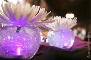 wholesale cheap purple decor | to have used what looks like clear vases and white flowers with purple ...