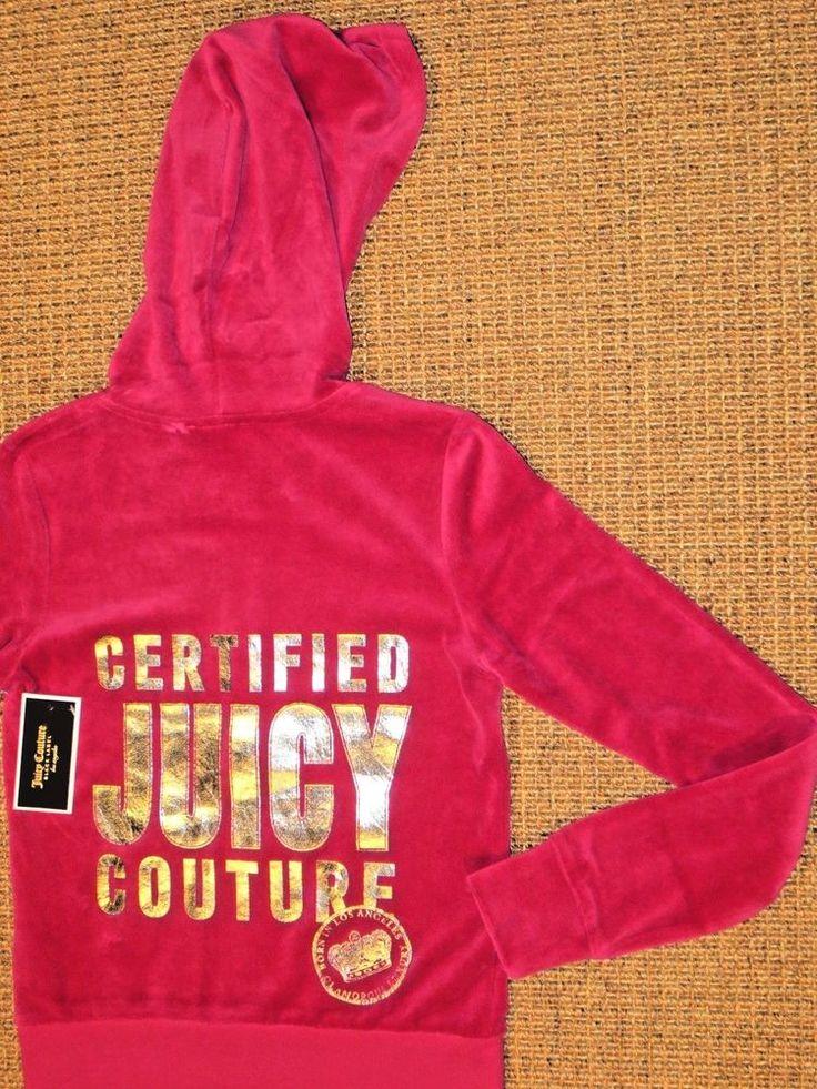 JUICY COUTURE  VELOUR ROBERTSON JACKET  XS  X SMALL WOMEN'S PINK HOODIE SANGRIA #JuicyCouture #Hoodie