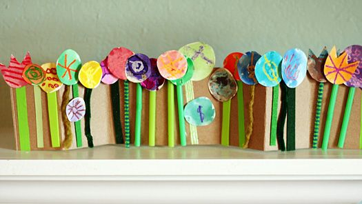 Accordion Folded Spring Flower Collage - Make and Takes