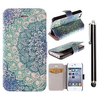 blauwe lotus patroon pu leer full body case met standaard en een stylus touch pen voor iPhone 4 / 4s – EUR € 7.67