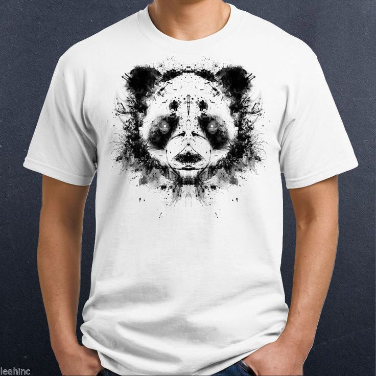 Ink Spatter Panda Face T Shirt Design. 100% cotton shirt, available in Men's, Ladies and kids. Choose shirt style, size and color! Colors will not match computer screen. Colors may vary from screen to actual printed piece. | eBay!